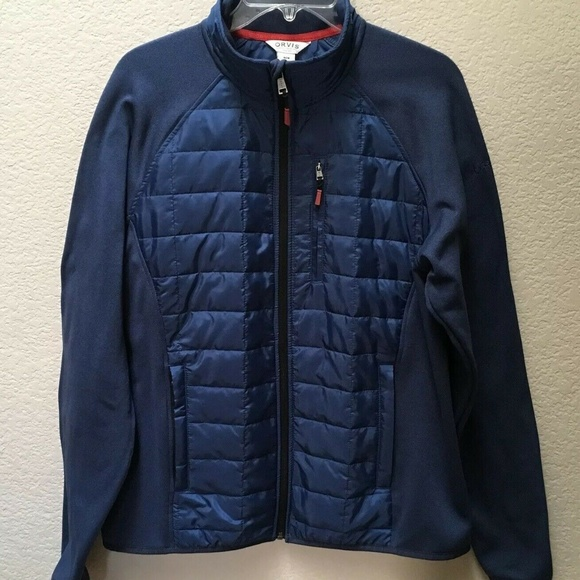 Orvis Mens Mixed Media Full Zipper Quilted Jacket